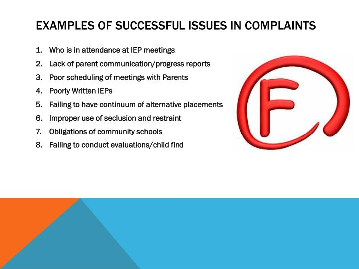Examples of successful issues in complaints