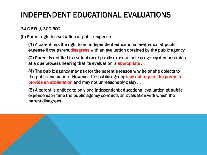 Independent educational evaluations