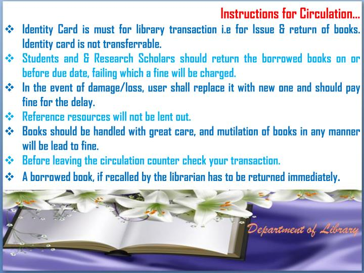 Instructions for Circulation…