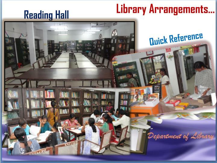 Library Arrangements…