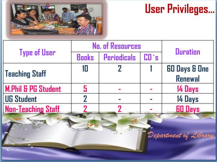 User Privileges…