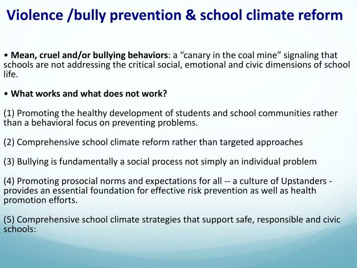 Violence /bully prevention & school climate reform
