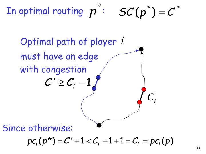 In optimal routing       :