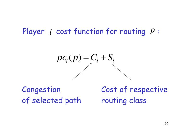 Player     cost function for routing     :