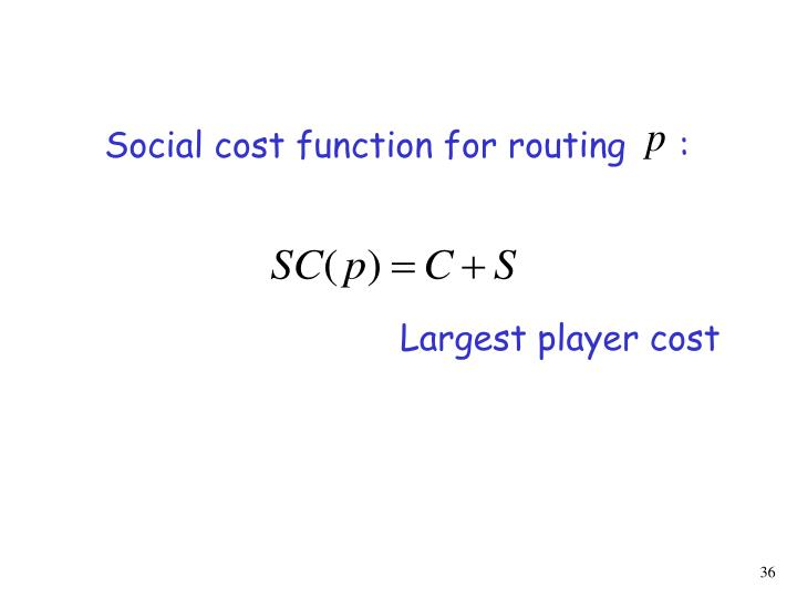 Social cost function for routing     :