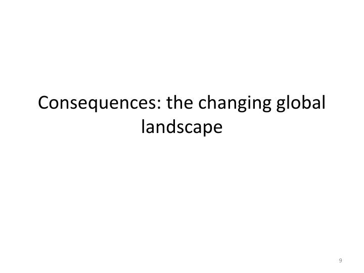 Consequences: the changing global landscape