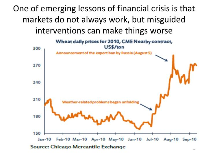 One of emerging lessons of financial crisis is that markets do not always work, but misguided interventions can make things worse
