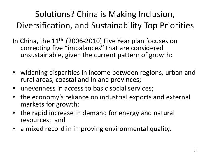 Solutions? China is Making Inclusion, Diversification, and Sustainability Top Priorities