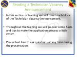 reading a technician vacancy announcement