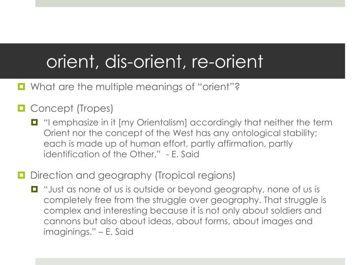 Orient dis orient re orient