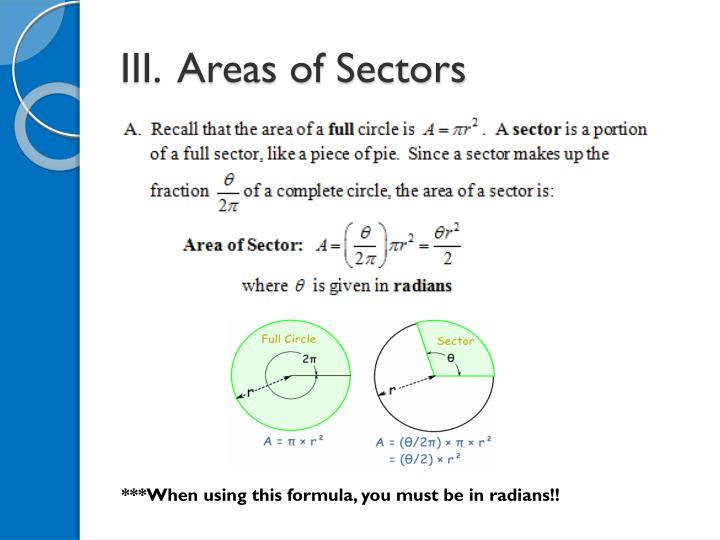 III.  Areas of Sectors