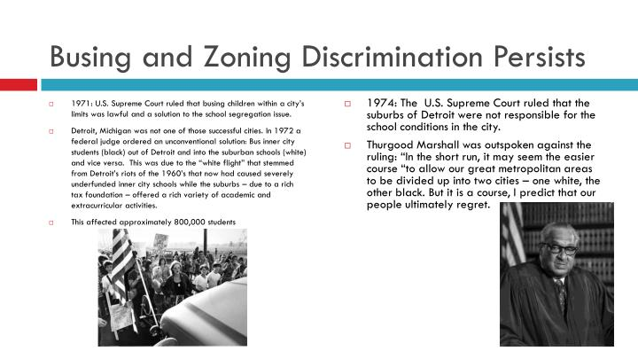 Busing and Zoning Discrimination Persists