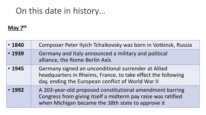 on this date in history n.