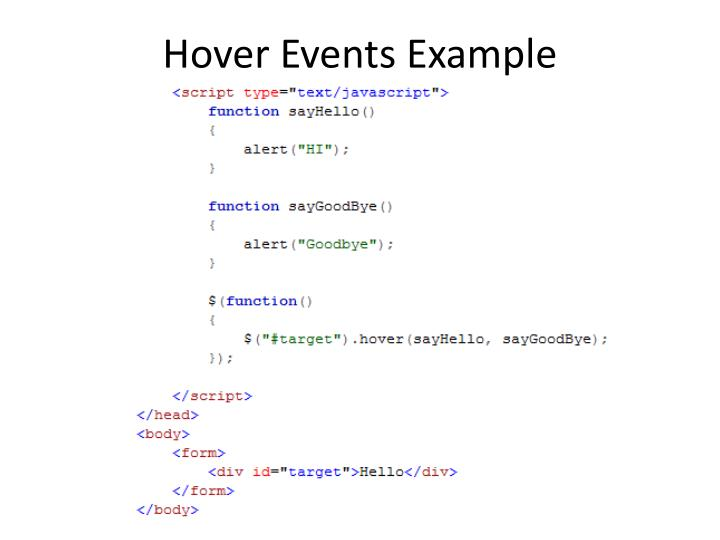 Hover Events Example