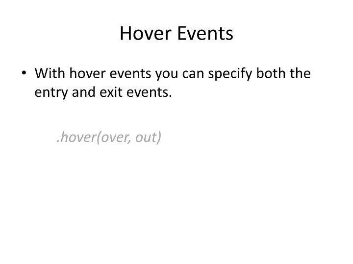 Hover Events