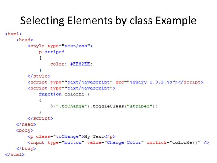 Selecting Elements by class Example
