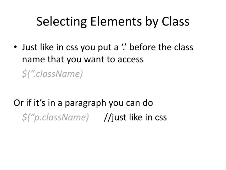 Selecting Elements by Class