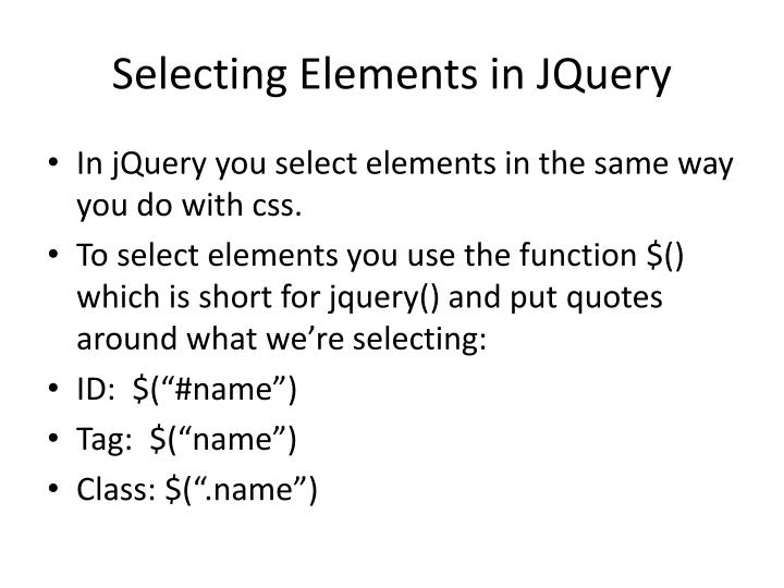 Selecting Elements in