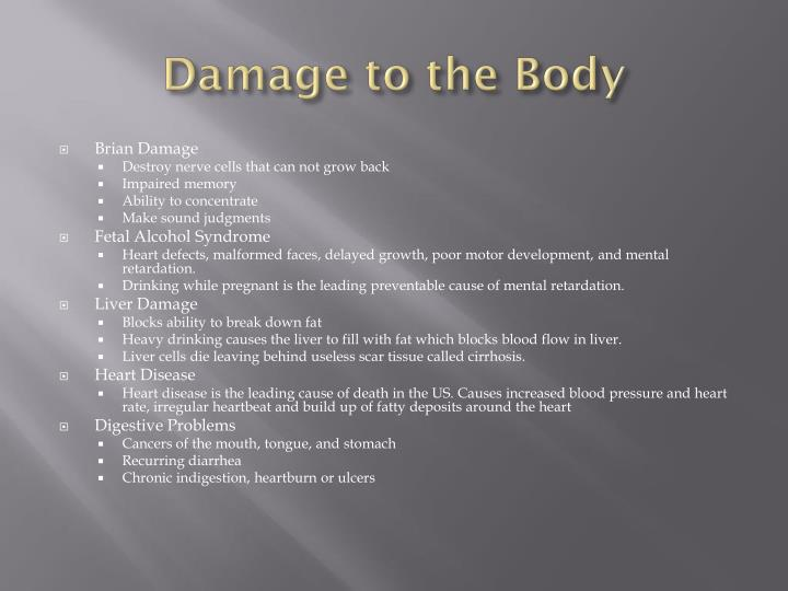Damage to the Body