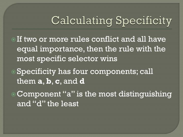 Calculating Specificity