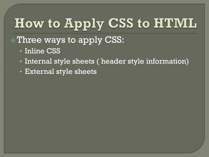How to apply css to html