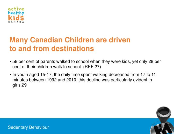 Many Canadian Children are driven