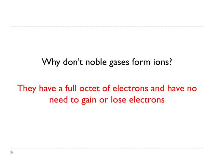 Why don't noble gases form ions?