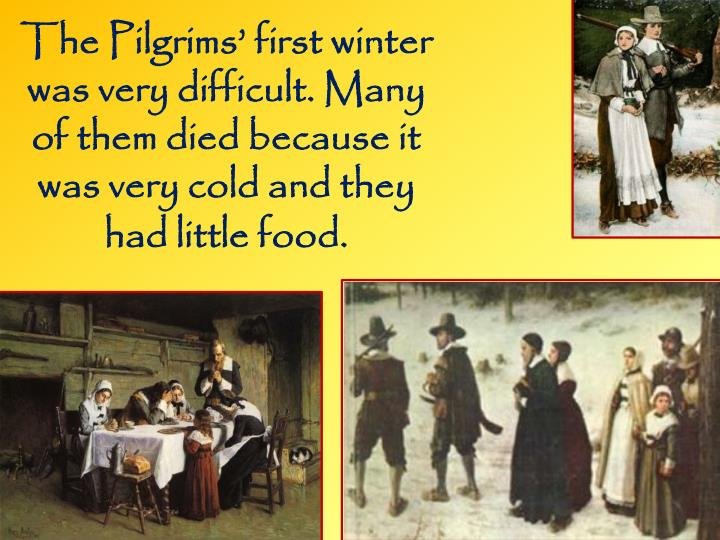 The Pilgrims' first winter was very difficult. Many of them died because it was very cold and they had little food.