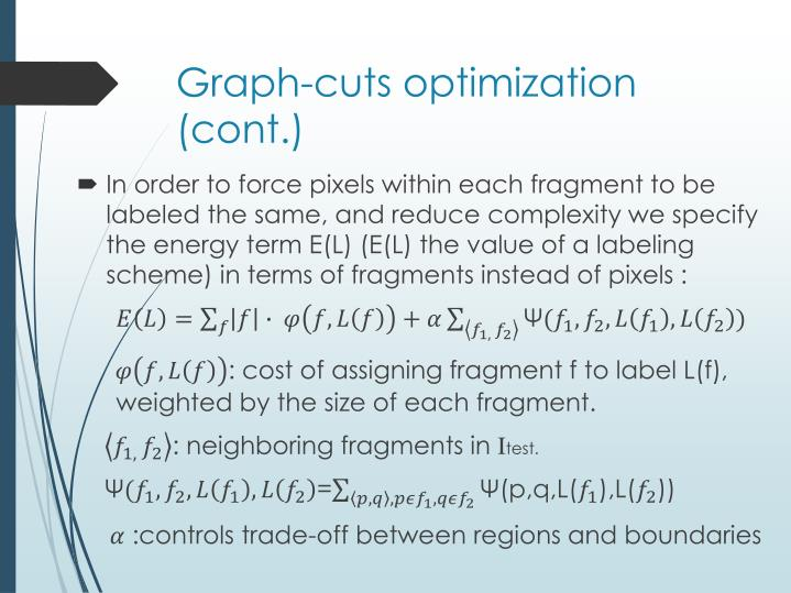 Graph-cuts optimization (cont.)