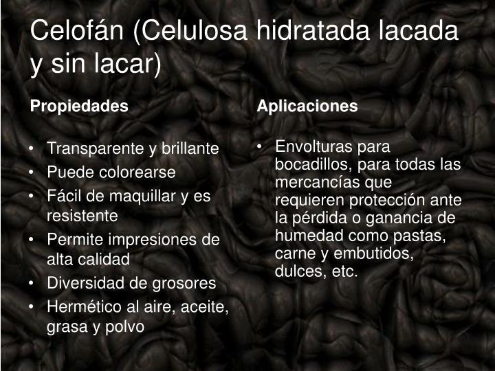 Celofán (Celulosa hidratada lacada y sin lacar)