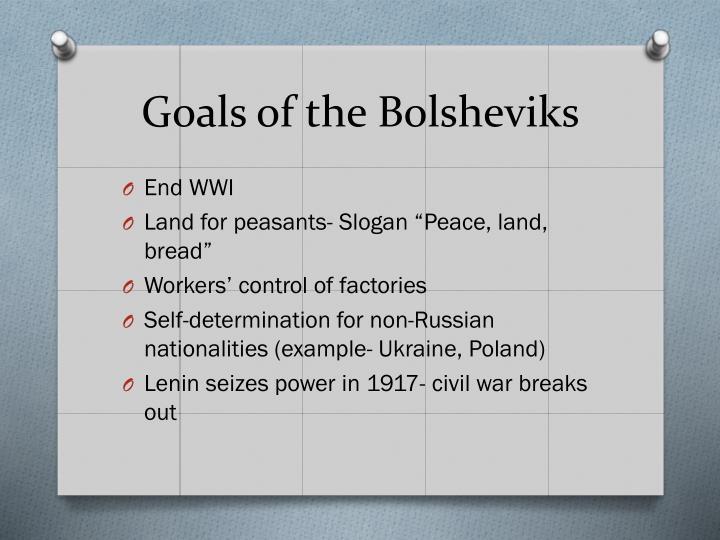 Goals of the Bolsheviks