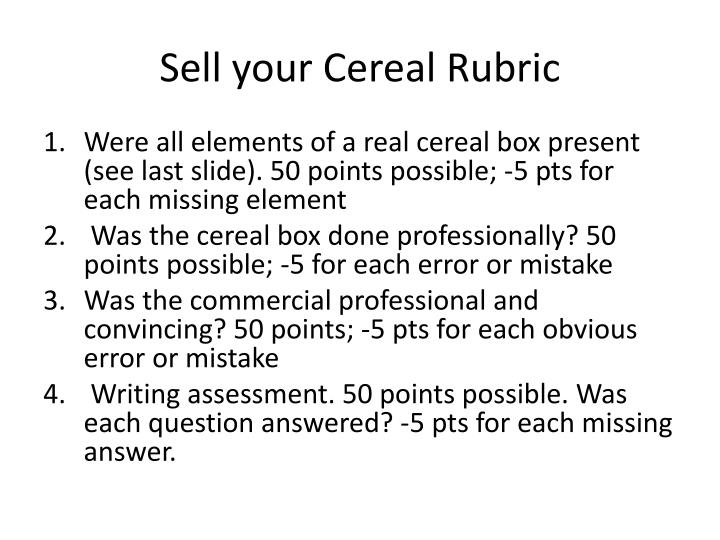 Sell your Cereal Rubric