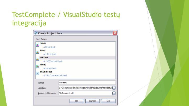 TestComplete / VisualStudio testų integracija