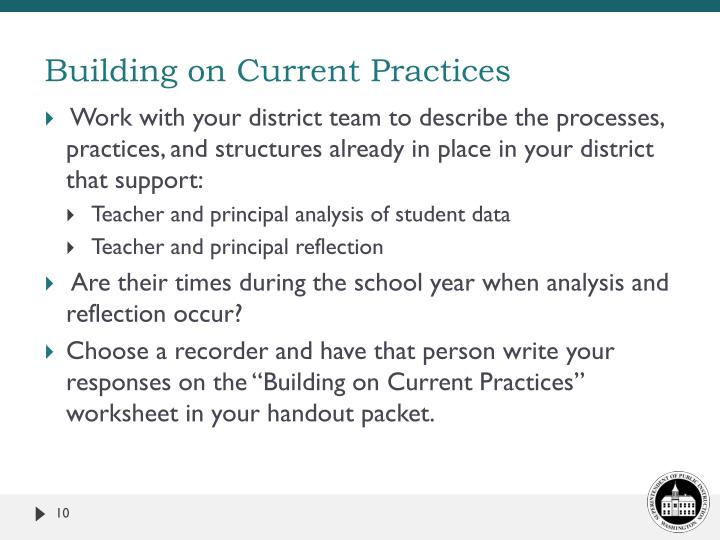Building on Current Practices