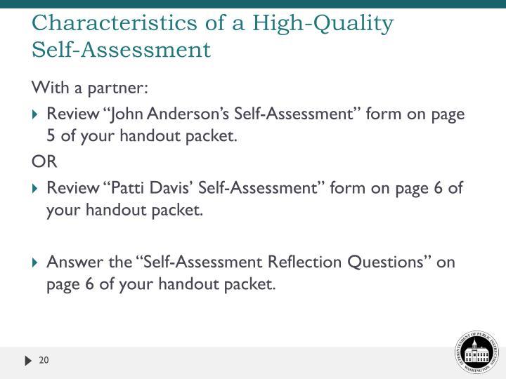 Characteristics of a High-Quality
