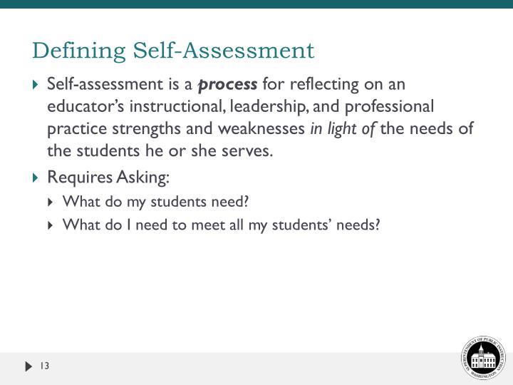 Defining Self-Assessment