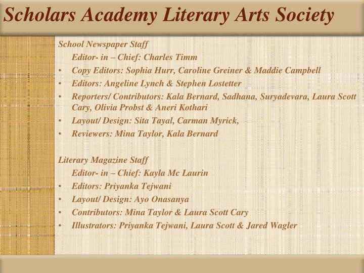 Scholars academy literary arts society2