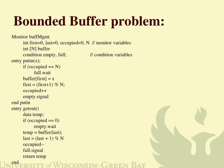 Bounded Buffer problem:
