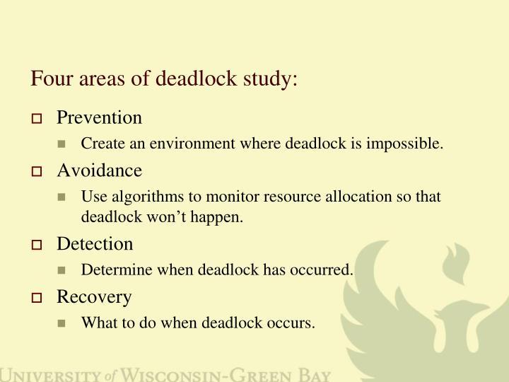 Four areas of deadlock study