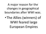 a major reason for the changes in geographical boundaries after wwi was