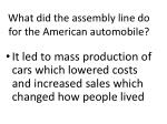 what did the assembly line do for the american automobile