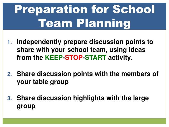 Preparation for School Team Planning