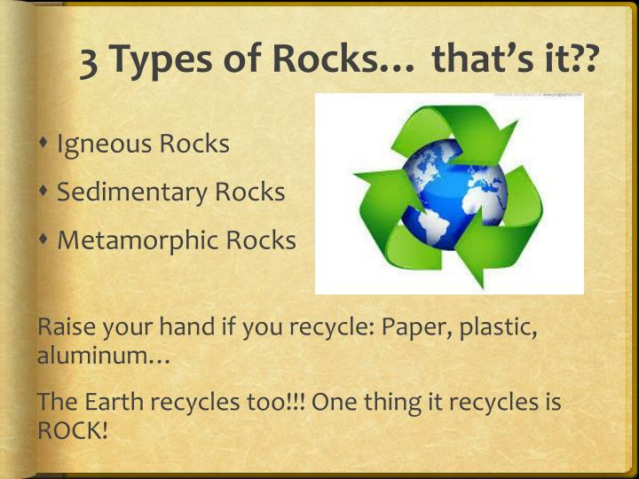 3 Types of Rocks… that's it??