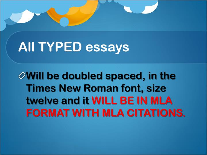 All TYPED essays