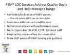 femp loc services address quality goals and help manage change