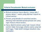 kriteria penyelesaian mutual exclusion