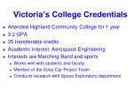 victoria s college credentials