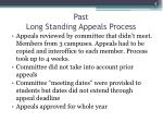 past long standing appeals process