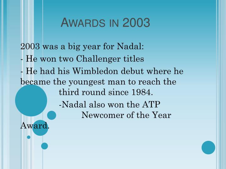 Awards in 2003