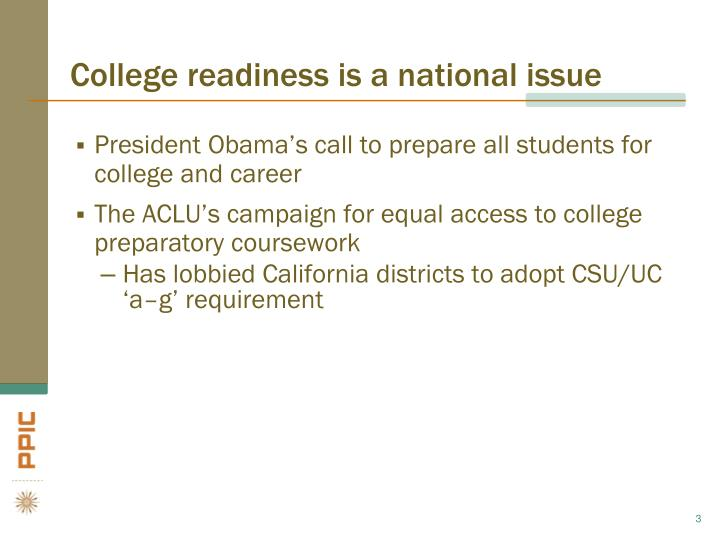 College readiness is a national issue